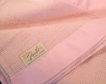 Wool Blanket Faribo, Twin Size, 3 Available Mint and Blush Pink, 2 twin beds, pair, Guest room, kids room, Matching sets 100 percent wool