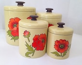 VIntage Hand Painted Ransburg Canister Set, Kitchen Decor, Retro Canisters, Kitchen Containers, Retro Storage Jars, VIntage Storage