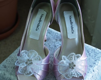 Wedding Pink Shoes more colors with lace flower crystals brooch, peep toe, closed ankle, heels