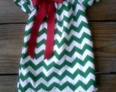 Christmas outfit, Green Chevron Christmas Dress, Christmas dress only, ribbon bow, Christmas chevron, girl, toddler, baby 0-3m - 7/8
