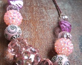 Sparkly Pink Necklace - Pink Beaded Necklace - Sparkly Beaded Necklace