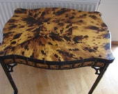 antique,oriental style,faux tortoishell veneered table,black & gilt tapered cane legs-side/occasional