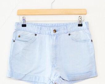 SALE Womens Vintage Shorts >> 1980s Jinglers Blue Denim Summer Festival Hotpants >> Medium / UK 14 / EU 42 / Waist 31