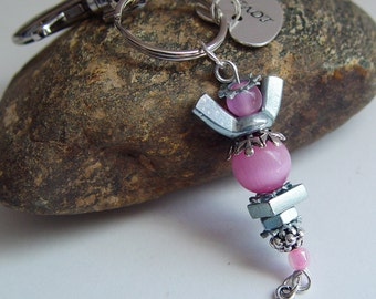 Baby Pink Beaded Silver Wingnut Clip On Hope Angel Charm Breast Cancer Awareness Keychain