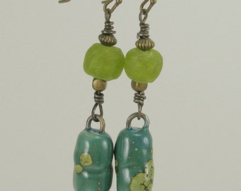 Rustic Turquoise and Lime Porcelain Spike Earrings   409
