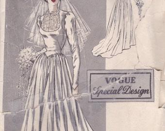Splendid 1940s Wedding Gown Pattern Vogue Special Design S-4919 Size 12