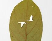 RÉSERVÉ pour Delphine Goose studs - sterling silver migrator geese earrings