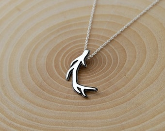 Antler necklace sterling silver woodland jewelry
