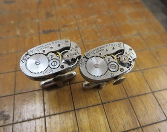 Elgin Watch Movement Cufflinks. Great for Fathers Day, Anniversary, Wedding or Just Because.  #232