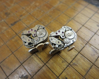 Wittnauer 5S Watch Movement Cufflinks. Great for Fathers Day, Anniversary, Groomsmen or Just Because.  #381