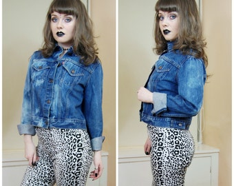 90s Grunge Levi's Acid Wash Mid Blue Denim Oversized Button Up Slouchy Classic Denim Jacket Coat M