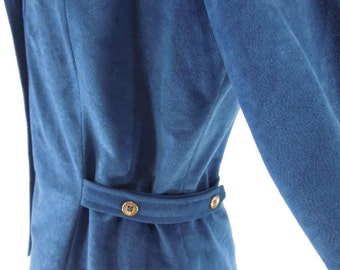 70s Blue Faux Suede Belted Shirt Jacket - med, lg