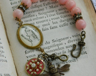 ETE' EN PROVENCE vintage assemblage jewelry handmade bracelet paris french map bee pink blush rose by atelier paris on etsy
