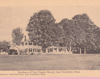 """Ca. 1909 """"Moody Residence"""" East Northfield, Mass. Topographical Picture Postcard - 1672"""