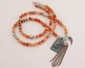 Sublime Sunstone Sterling Silver Tassel Necklace