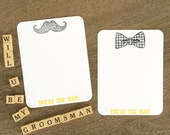 You're the Man Mustache & BowTie Note Cards - Set of 10 - Will You Be My Groomsman
