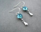 Art Deco Jewelry Light Turquoise Earrings Elegant Swarovski Elements Crystal Chatons Antique Silver Hooks