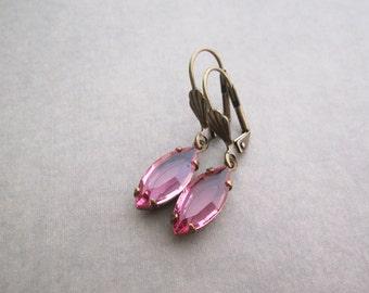 Pink Earrings - Elegant Bridal Jewelry - Swarovski Elements Rhinestone