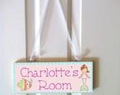 mermaid door sign, personalized sign, door hanger, girls name sign, nursery decor, mermaid nursery,  nautical nursery, mermaid decor
