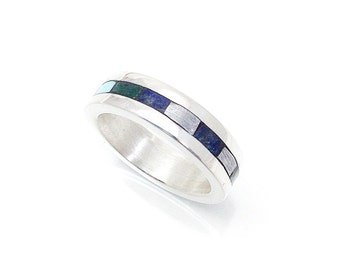 Meteorite Infinity Inlay Ring Sterling Silver - Unisex Meteorite Ring - Custom Meteorite Ring - Ring made with Meteorite - Meteorite Jewelry