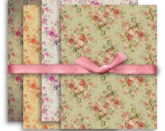 Digital Images - Digital Collage Sheet Download - A4 Vintage Floral Backgrounds -  1089  - Digital Paper - Instant Download Printables