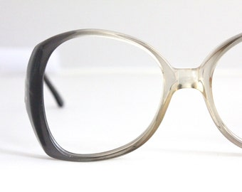 Vintage 80's Oversized Italian Swank Charcoal Fade Eyeglass Frames