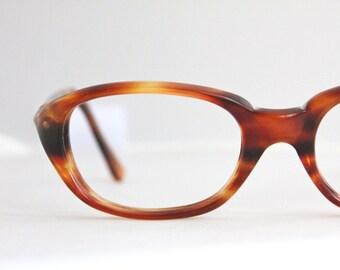 Vintage 50's Italian Brown Tortoise Cat Eye Eyeglasses Sunglasses Frames