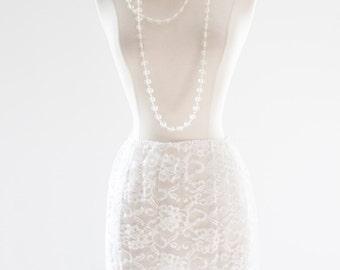 50's White Petticoat. SM . /// Sheer Lace. Wedding Undergarments.