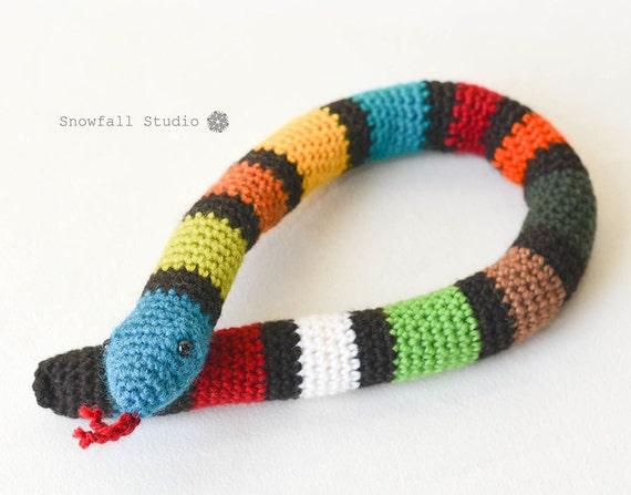 Crochet Snake - Ecofriendly Gift - Striped Snake Toy - Stuffed Animal