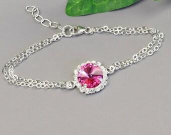 Rose Pink Crystal Bracelet - Swarovski Crystal Bridesmaid Jewelry - Silver Hot Pink Bracelet - Wedding Jewelry - Bridal