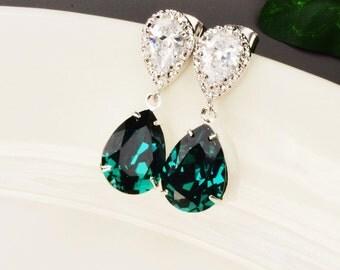 Emerald Earrings - Swarovski Earrings Silver - Emerald Green Earrings - Cubic Zirconia Earrings - Bridesmaid Earrings - Swarovski Jewelry