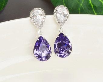 Puple Earrings - Swarovski Earrings - Tanzanite Earrings Silver - Wedding Jewelry - Bridesmaid Jewelry - Bridal Jewelry - Teardrop Earrings