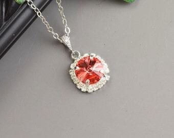 Coral Necklace - Swarovski Crystal Pendant Necklace - Silver Orange Coral Bridesmaid Necklace - Crystal Wedding Jewelry - Bridal Jewelry
