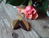 Fall Leaves Earrings. Wood dangle earrings with metallic gold paint, Nature lover gift, Handmade earrings, Botanical Jewels - MADE to ORDER
