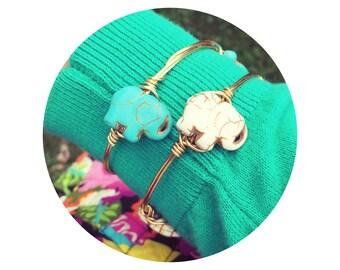 elephant bracelet, wire wrapped bangle, lucky elephant jewelry, stocking stuffer // cream white or turquoise blue