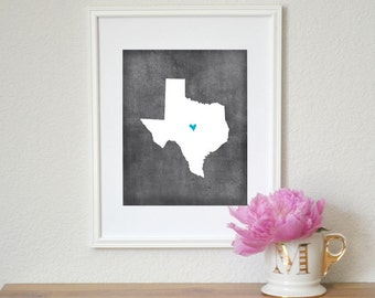 Texas Chalkboard State Map Customizable Art Print