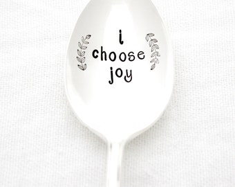 I Choose Joy. Hand stamped coffee spoon with inspirational quote. Stamped silverware by Milk & Honey  ®