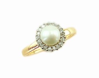 Pearl Engagement Ring, Pearl and Diamond Ring, June Birthstone Ring, Pearl Jewelry, Bridal Ring, Fast Free Shipping