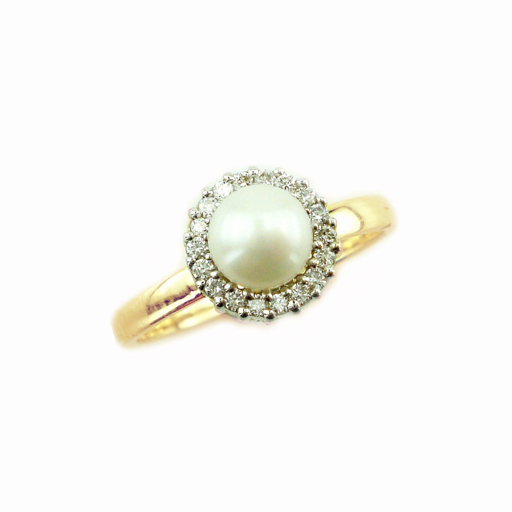 Pearl engagement ring pearl and diamond ring june birthstone for Pearl engagement ring with wedding band