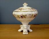 White Pedestal Bon Bon Dish Bowl by Ashley Bone China Home Decor Made in England