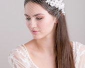 Bridal bandeau veil with floral lace, wedding veil with pearls