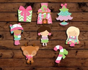 Christmas toppers, cute Christmas toppers, Christmas cupcake toppers, Christmas decorations