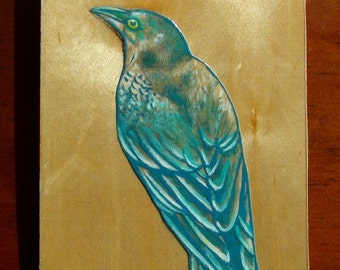 Raven in Blue - Original Painting on Wood - Mixed Media - Earthy Crow in Light Teal