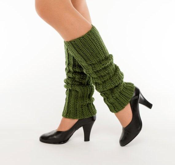 SALE--Olive Green Crochet Leg Warmers, Handmade Ankle Warmers, Dance, Ballet, Knit, Women's Warm, Winter Accessory, Knit, 80's Style