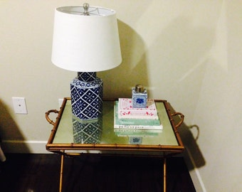 Lamp Classic Blue and White Ginger Jar with White Linen Drum Shade Chinoiserie Oriental Ceramic Porcelain