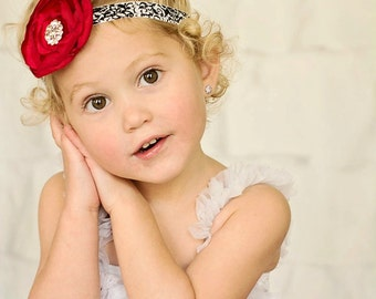 Black & White Damask Headband with Red Satin Flower with Rhinestones -  Baby Infant Toddlers Girls Women