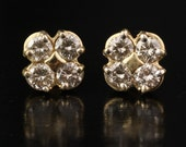 1.60 Carat Carat Diamond Flower Cluster Earrings in 14k Yellow Gold