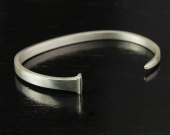 Womens Forged Sterling Silver Antique Square Nail Cuff Bracelet - Personalized