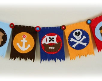 Pirate Bunting. Nursery Art. Baby Shower. Felt. Eco-Friendly. Reusable. Photo prop. Made to order item.