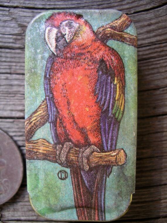 Tiny Vintage Parrot Tin Potpourri Press Sliding Pill